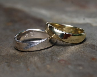 Band 14K Gold Curve Wedding Band 5mm Forged size 5 to 10.5 his hers women's men's flowing curves