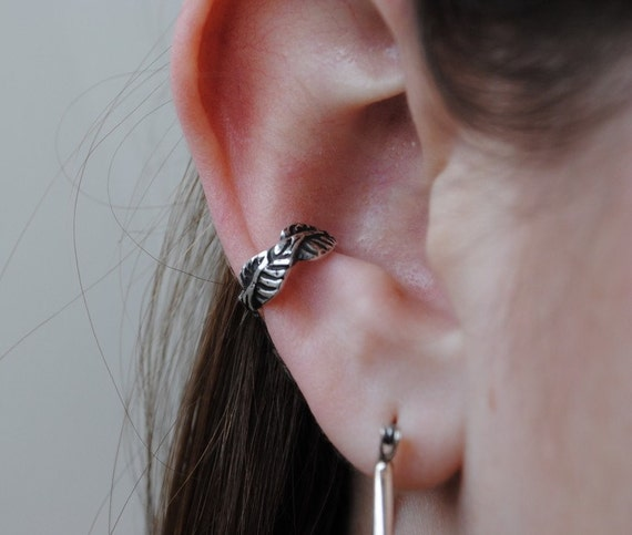 Leaf Ear Cuff in sterling silver Non pierced and Pierced options Conch area