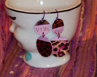Recycled credit card earrings pink leopard