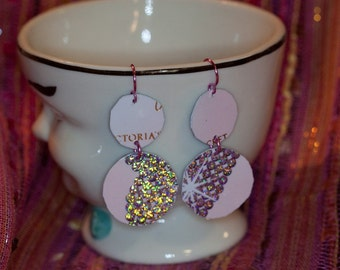 Recycled credit card earrings victorias secret pink sparkle
