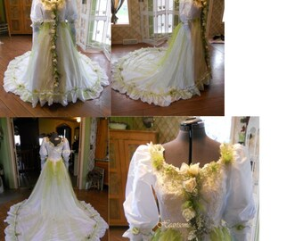 Wedding fantasy Bridal fairy gown dress whimsical woodland nymph vintage head wreath OOAK