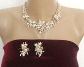 SALE, Bridal Pearl Gold Set, Gold  Rhinestone Wedding Set, Gold Pearl Necklace Earrings, Wedding Pearl Necklace Earrings, Pearl Gold Jewelry