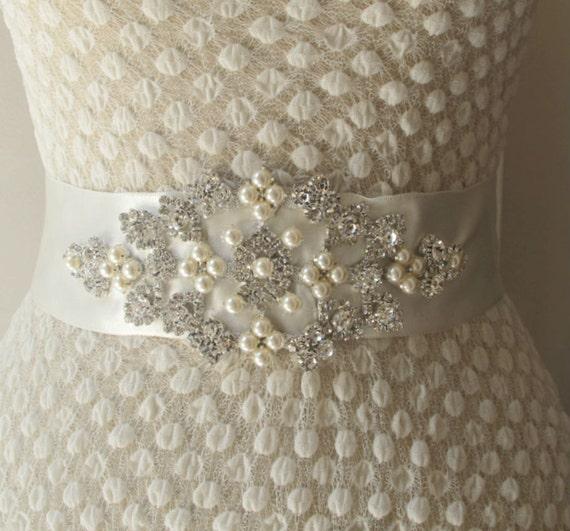 Bridal Belts with Pearls Rhinestones Bridal Sashes Crystal Beaded Bridal Wedding  Belt