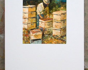 Beekeeper Painting Wall Art Print, 11 x 14 matting
