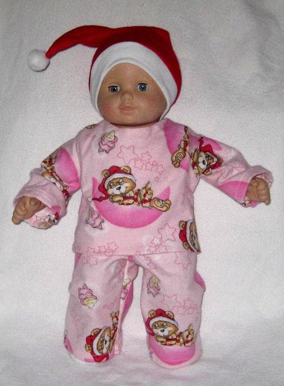 American Girl Doll Clothes Bitty Baby Pink Santa Bear Pajamas