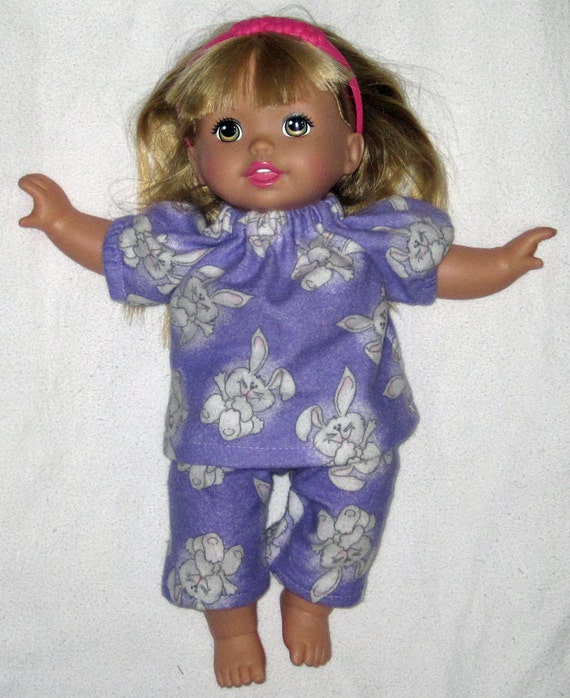 Little Mommy Sweet As Me Doll Pajamas Purple  Wonderland Bunny Hop Hop 13  14  inch Doll Clothes  Made IN USA
