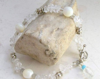 Icy Winter Quartz Bracelet - Mother of Pearl, Silver - Handmade OOAK, Toggle Clasp, Large Size, Free US Shipping, Healing Gemstone,