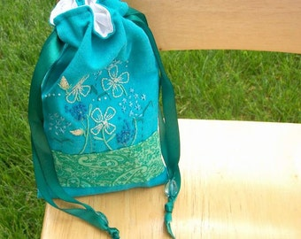 Turquoise Garden Keepsake Drawstring Bag - Handmade, Freehand Embroidery, Travel, Tarot, Wedding, Bridal, Prom Purse, Free US Shipping