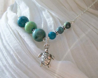 Kauila Turquoise, Sea Turtle Necklace- Asymmetrical, Silver, Handmade, Ocean Totem Animal, Free US Shipping, Metaphysical Jewelry, Good Luck