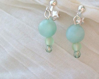 Inspired Matte Amazonite Clip-on Earrings - Silver Hypoallergenic, Nickel Free -Handmade OOAK - Matching Necklace Available, Metaphysical
