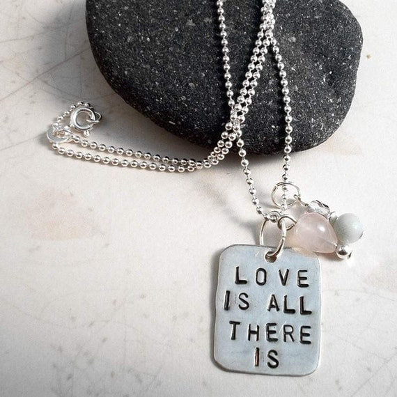 """Rose Quartz, Amazonite - Love Is All There Is Sterling Silver Necklace - Handmade, Hand-stamped Pendant OOAK - 18"""", Free US Shipping"""