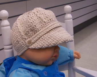 Newsboy Hat with band in cotton yarn for babies