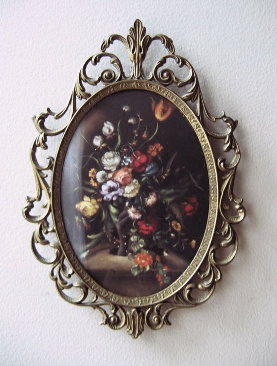 pair italian metal frames, convex glass, floral lithograph