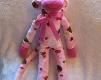 Cupcake Sock Monkey,  Handmade Soft Minkee Cupcake Print Fabric, Personalized, Limited Edition, Doll Toy Plush Stuffed Toy Animal