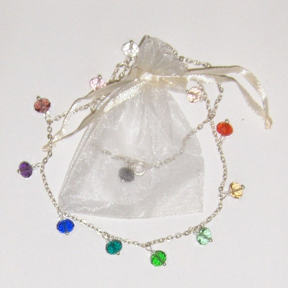 Rainbow Necklace - Multicolored Glass Beads on Silver Chain