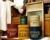 Laundry Room round primitive Shaker Boxes 5 piece set