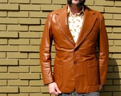 1970s Mens Caramel Brown Leather Jacket - Made in Brazil