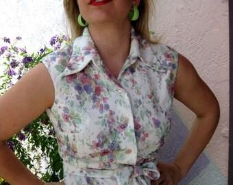 1970s Cool Pastels Floral Dress