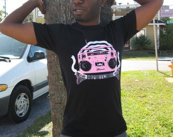 Black T-Shirt with Vintage Pink Boom Box Design - Heartcore