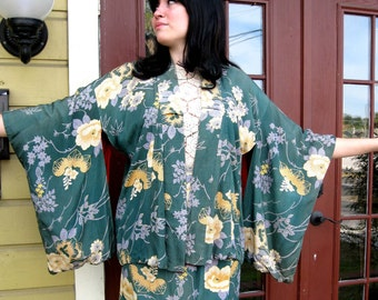 Upcycled Vintage Green Floral Kimono Skirt Suit - Truly One of a Kind