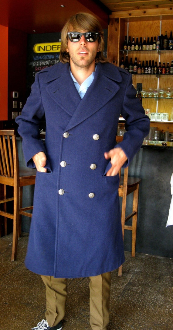 Military Overcoat - Navy Blue Wool - US Air Force - Long Coat