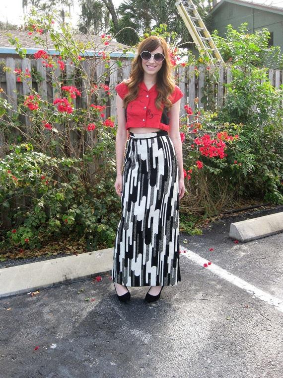 1960s Black & White Op Art Long Skirt