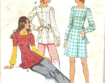 Vintage Sewing Patterns - 1970s Patterns - 70s Dress Pattern - Tunic Pattern - Puff Sleeves Dress - Simplicity 5405 - Hipster Style Clothing