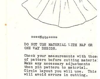 1960's Vintage Square Dance Skirt Sewing Pattern Vee Gee