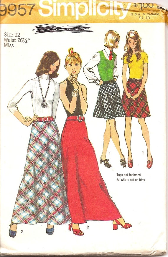 vintage sewing pattern maxi skirt 1970s simplicity 9957