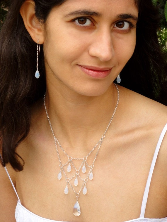 Opal Swarovski Crystal Necklace: Harlequin-Style Cloudy Faceted Drops on Sterling Silver