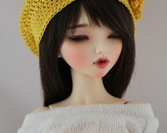 Yellow Crochet Hat for MSD BJD, 1/4 Dollfie, Minifee Doll Clothes, Casual Style