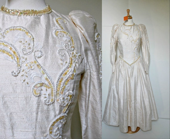 Wedding Dress in Ivory Dupioni Silk with Pearls and Sequins