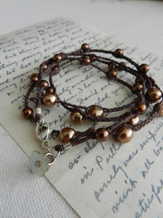 Studio Sale 20% Off--Vintage Pearl Braided Long Linen Necklace--Bronzes