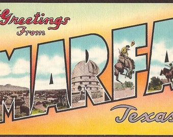 Marfa, Texas Vintage Linen Postcard - Greetings from Marfa Large Letter