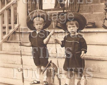 The Real Fishermen Show the Goods - Two Boys Holding Fish - Vintage Photo Digital Download