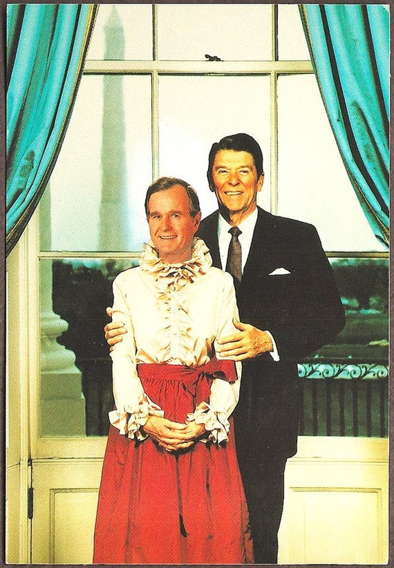 Political Humor Vintage Postcard - The Odd Couple, Reagan and Bush in drag