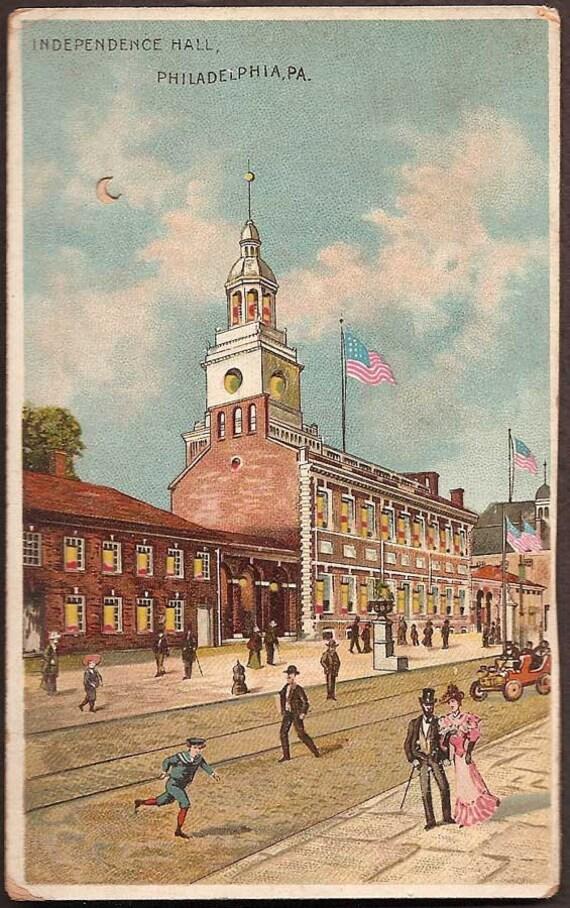Philadelphia, Pennsylvania Hold-to-Light Vintage Postcard - Independence Hall Koehler