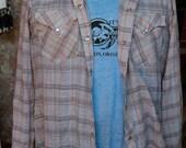 SUPER soft and perfectly worn H bar C Long Tail Ranchwear, pearl snap, western, rockabilly, rocker, grunge, plaid long sleeve. Size 16.5-34