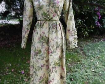 Vintage designer LORRIE DEB prairie, renaissance, edwardian floral jacquard maxi party dress, straight out of mad men