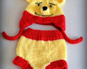 Winnie The Pooh - Baby Hat Diaper Cover Set - Photo Prop  Animal Bear Cartoon Red Yellow NB Newborn Infant Toddler Teddy Bear Ear Flap