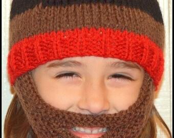 Beard Hat, Knitted Beard Beanie, Kids-All Sizes, All Colors, Bearded Beanie, Bearded Hat, Bearded Cap