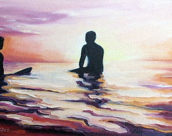 "Eventide by Daina Scarola, panorama reproduction on 8 1/2"" x 11"" fine art paper (surf art, silhouettes)"