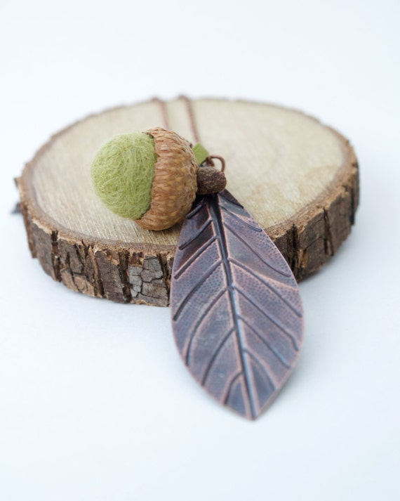Acorn Necklace, Felt Acorn Jewelry, Moss Green Wool, Natural and Eco Friendly