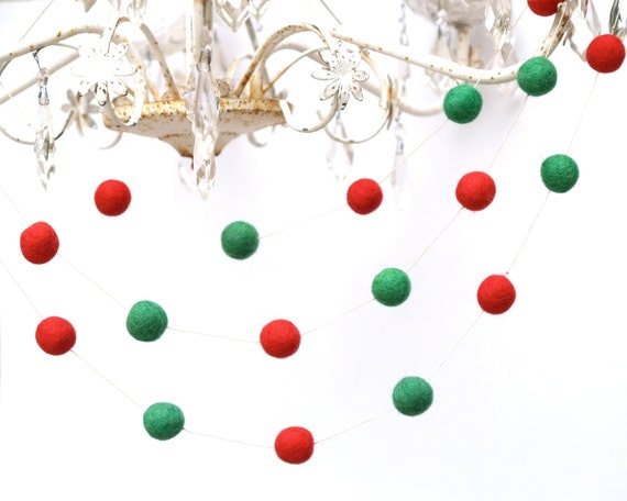 Christmas Tree Garland, Red and Green Christmas Banner, Festive Home Decor - 5ft