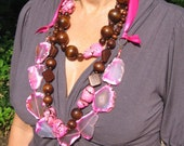 ON SALE! 3 necklaces Semi Precious Bubble Gum Pink Agate, Pink Howlite Wood Bead Handmade Necklaces
