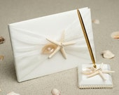 Starfish & Shell Beach Wedding Guestbook and Pen Set - 20205/25205