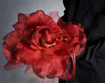 Rose Romance Ruby Red Wedding Ring Bearer Pillow