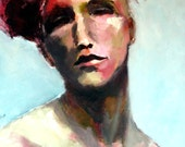 """Oil Original Portrait """"Woman in a Red Hat"""" Painting on Canvas in Teal, Red and Pink, 16 x 20"""