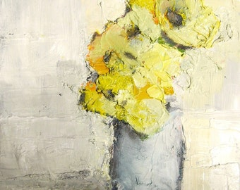 "Art Print Giclee on Paper Yellow Flowers 8x10 ""Buttered"""