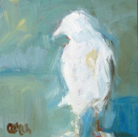 White Bird Oil Painting with Sea Shore Blue Background